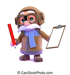 3d Pilot with a clipboard and pencil - 3d render of a pilot...
