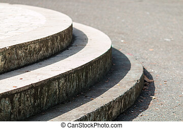 Round steps - Steps round concrete and tile in the city park