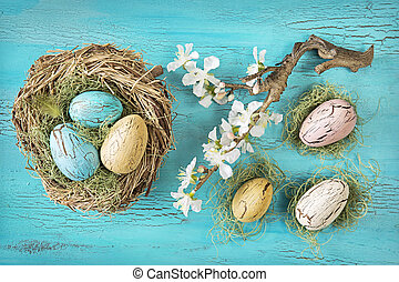 Vintage easter eggs on a blue wooden background