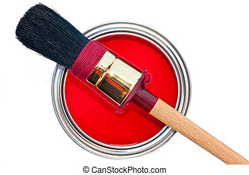 Paint can with brush isolated on white