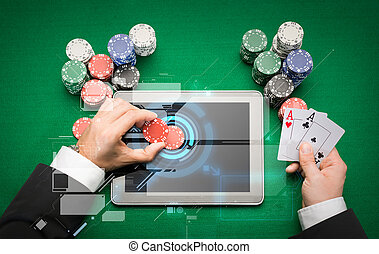 casino poker player with cards, tablet and chips - casino,...