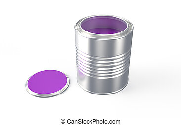 Cans with purple paint - Cans with color paint isolated on...