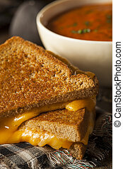 Homemade Grilled Cheese with Tomato Soup for Lunch