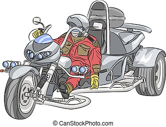 Vector motorcyclist. - Motorcyclist on the big silver...