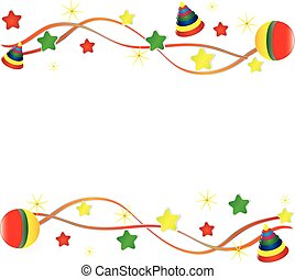 background from childrens' toys on a white background