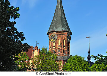 Koenigsberg Cathedral, symbol of Kaliningrad. Russia - Tower...