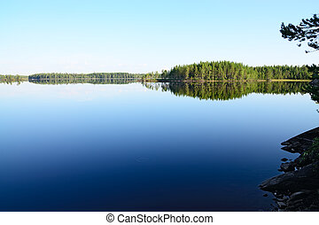 Morning silence Lake Engozero, North Karelia, Russia -...