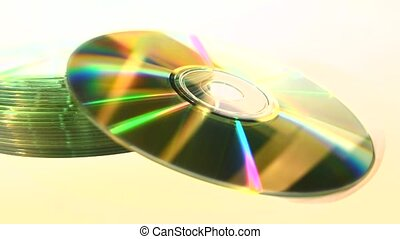 Stack of CDs, isolated, focus-out - A stack of CDs isolated...