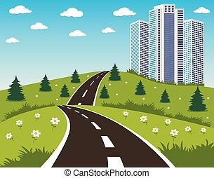 Road to a city - Cartoon illustration of a road to a city