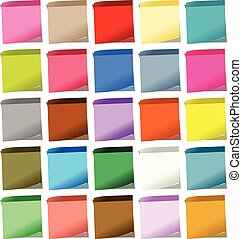 Multiple Colored Post-It Notes - Scalable vectorial image...