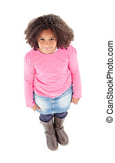 Adorable Afroamerican girl top view isolated on a white...