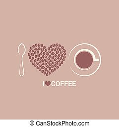 coffee beans love concept background 8 eps