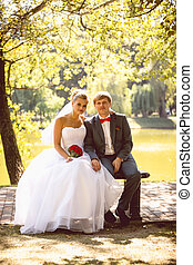 Newly married couple sitting on bench under tree at river...