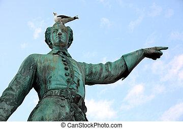 Statue of Karl XII king of Sweden in stockholm Sweden