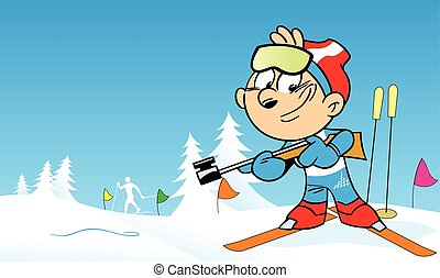 biathlon - The illustration shows the sports biathlon in...