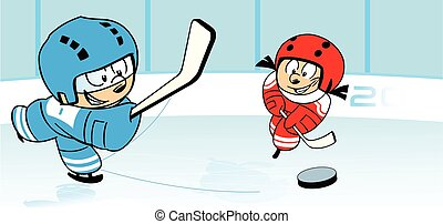 ice hockey - The illustration shows children, who play...