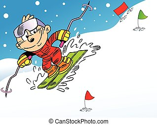 skier - The illustration shows an athlete skier....