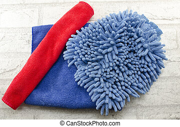 Blue and red dust wiping cloths
