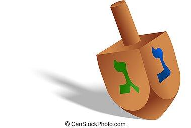 Hanukkah Dreidel - A digitally drawn toy dreidel spinning...