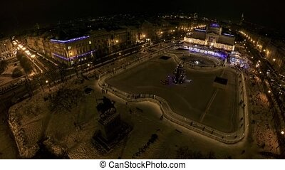 King Tomislav square before New Years Eve - Ice park made...
