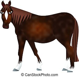 Brown Horse - Digitally created cartoon speckled horse on a...