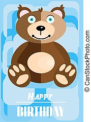 Birthday card with smiling brown teddy bear