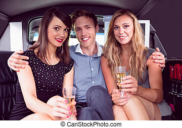 Girls with man in the limousine - Pretty girls with ladies...