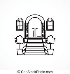 Line vector icon for front door - Black line single vector...