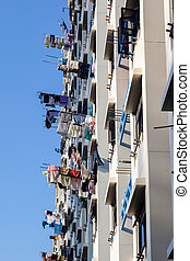 Drying Laundry on Bamboo Poles in Singapore - Typical...