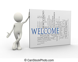 3d man standing with welcome word tags wordcloud - 3d...