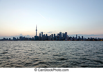 Toronto skyline - Skyline of Toronto over Ontario Lake at...
