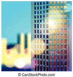 sunlit skyscraper - vector illustration of a stylized effect...