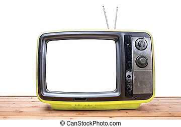 Yellow Vintage TV on wood table , isolated white background