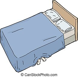 Person Hiding Under Bed - Single hand drawn cartoon bed with...