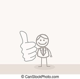Business Man Thumb Up - Funny Doodle : Business Man Thumb Up