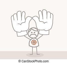 Business Man Sad Hands Up Target