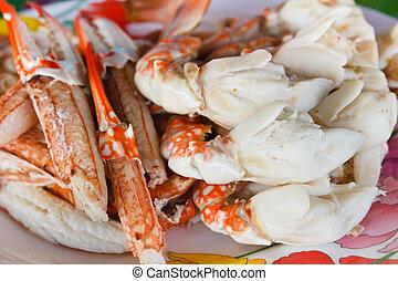 Steam crab leg. - steam crab leg, seafood.