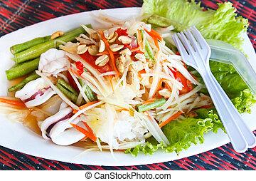Papaya salad sea food, Thai food - papaya salad sea food,...
