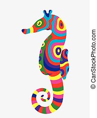 Sea horse abstract colorfully, art vector illustration