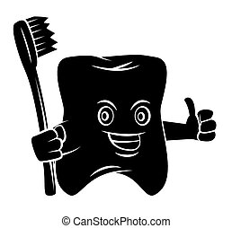 Black Silhouette : Tooth Mascot