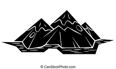 Black Silhouette : Mountain Symbol