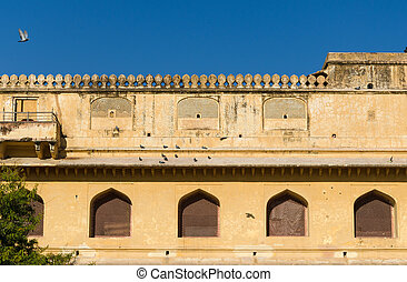 Elevation view of Amber Fort in Jaipur, Rajasthan, India