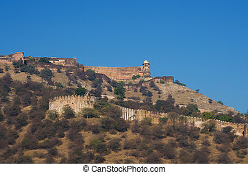 Ancient walls of Amber Fort in Jaipur, Rajasthan, India