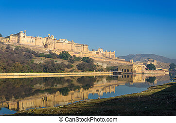 Amber fort over the lake, Jaipur, Rajasthan, India