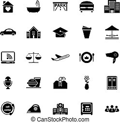 Hospitality business icons on white background, stock vector