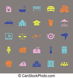 Hospitality business color icons on gray background, stock...