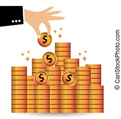 Save money vector - Save money. Financial and business...