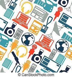 Seamless pattern with journalism icons. Mass media and press...