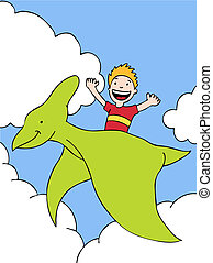 Pterodactyl Kid a hand drawn illustration vector based image...