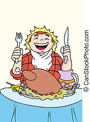 turkey feast a hand drawn illustration vector based image.